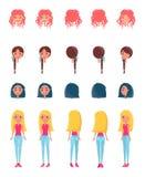 Выберите возникновение для оживленного набора символов девушки иллюстрация штока