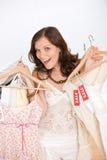 выберите женщину покупкы сбывания способа одежд счастливую Стоковые Изображения