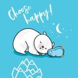 Выберите счастливое Пингвин спать и полярный медведь также вектор иллюстрации притяжки corel иллюстрация вектора