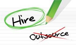 Выбирать нанять вместо Outsource Стоковые Изображения RF