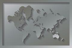 Выбитая карта мира Стоковое Изображение RF