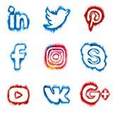 ВЫБОРГ, РОССИЯ - 20-ое октября 2016 Значки сети акварели социальные: LinkedIn, Twitter, Pinterest и другое стоковое изображение rf