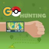 ВЫБОРГ, РОССИЯ - 24-ое октября 2016 Pokemon идет навигация, Pokeball Умный GPS для перемещения Вектор EPS 10 стоковое фото