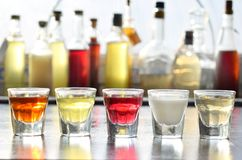 Выбор алкогольных напитков Комплект вина, рябиновки, настойки, тинктуры, коньяка, вискиа в стеклах, бутылках Большое разнообразие стоковые изображения
