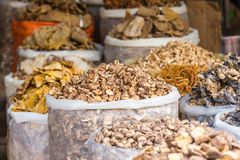 Выбор гриба на рынке в Ханое, Вьетнаме Стоковые Фотографии RF