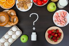Выбор еды аллергии, здоровая концепция жизни стоковые изображения rf