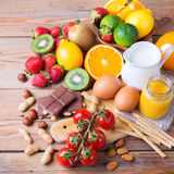 Выбор еды аллергии, здоровая концепция жизни стоковая фотография rf