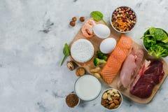 Выбор на источниках вегетарианца и протеина животного происхождения Стоковые Изображения RF