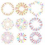 Выбор фейерверков на предпосылке изолированной белизной Элементы праздника вектора для дизайна иллюстрация вектора