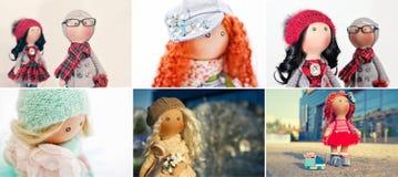 Выбор фото от кукол ветоши handmade Стоковое фото RF