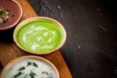 Выбор холодных освежая супов лета Стоковое фото RF