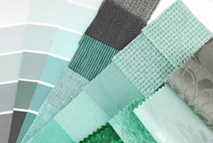 Выбор цвета гобелена и занавеса драпирования Стоковая Фотография