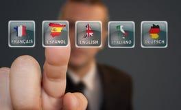 Выбор языка кнопки Стоковая Фотография RF