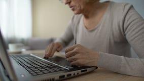 Выбытая дама изучая новую компьутерную программу, сердито отжимая клавиатуру застегивает сток-видео