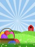 выгон зеленого цвета пасхального яйца корзины счастливый иллюстрация штока