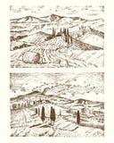 Выгравированная рука нарисованная в старом эскизе и винтажном стиле для ярлыка Итальянка Тоскана fields предпосылка и кипарисы бесплатная иллюстрация