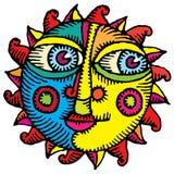 выгравированное цветом солнце стороны бесплатная иллюстрация
