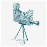 Выгравированный год сбора винограда камеры кино или фильма фото, рука нарисованная в эскизе или стиль отрезка древесины, старый с бесплатная иллюстрация