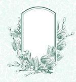 Выгравируйте картину monichrome тюльпанов рамки вектора цветков иллюстрация вектора