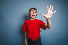 выглядящий Европейск мальчик 10 лет показывает диаграмму Стоковое Изображение