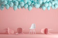 Выдающий белый стул среди розовых стульев с плавать голубые воздушные шары в розовой пастельной студии комнаты предпосылки иллюстрация штока