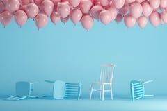 Выдающий белый стул с плавать розовые воздушные шары в голубой пастельной студии комнаты предпосылки иллюстрация вектора