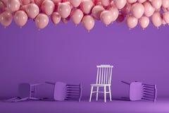 Выдающий белый стул с плавать розовые воздушные шары в фиолетовой пастельной студии комнаты предпосылки иллюстрация вектора