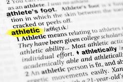 Выделенное ` английского ` слова атлетическое и свое определение в словаре Стоковая Фотография