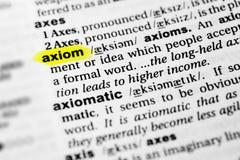 Выделенное английское ` аксиомы ` слова и свое определение в словаре Стоковые Фото