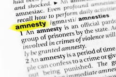 Выделенное английское ` амнистии ` слова и свое определение в словаре стоковые фотографии rf