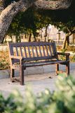 Выдержанная деревянная скамья в парке в теплом свете захода солнца стоковое фото