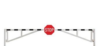 выдержанный стоп дорожного знака барьера изолированный стробом Стоковые Фото