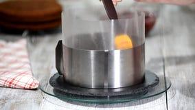 Выдерживая слой торта губки с сиропом Концепция варить сток-видео