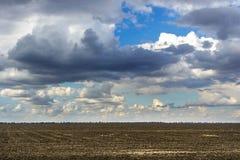 Выдержите изменение над полем на темном облачном небе, изменением пшеничного поля погоды Лучи Солнця Стоковое Изображение