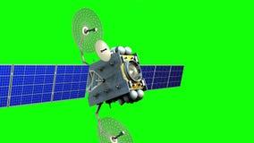 Выдуманный искусственный спутник на зеленом экране, анимации 3d иллюстрация штока