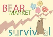 Выживание рынка с понижательной тенденцией иллюстрация вектора