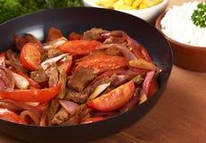 вызванное saltado peruvian lomo еды Стоковые Фото
