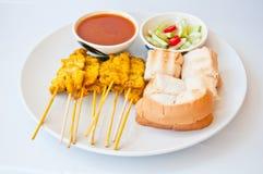 вызовите вкусные satae moo еды тайским стоковое фото rf