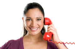 вызовите детенышей женщины телефона Стоковое фото RF