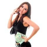 вызывать деньги удерживания девушки клетки стоковые фотографии rf