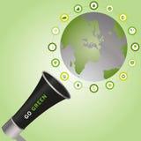 Вызывать мегафона идет зеленый цвет к устойчивым острословию окруженному миром Стоковое Изображение