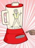 Вызывающий клаустрофобию человек и Blender Стоковое Фото