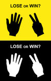 Выиграйте или потеряйте руку ножниц-бумаги, ножниц-бумагу, вектор руки ножниц-бумаги, знаки руки конкуренции Стоковые Фото