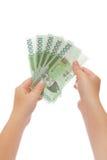 выигранные деньги Кореи руки Стоковое Изображение