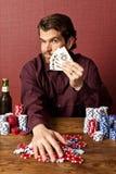 выигрывать покера человека стоковые фото
