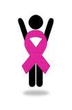 Выигрывая женщина причины воевать рак молочной железы Стоковые Изображения RF