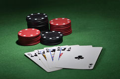 Выигрывая рука покера Стоковые Фото