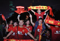 Выигрыш Гуанчжоу Evergrande Лига чемпионов AFC, шальные вентиляторы стоковые изображения