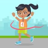 Выигрыш маленькой девочки знамя спорта бегуна гонки маленькое иллюстрация вектора