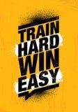 Выигрыш поезда трудный легкий Воодушевляя знак иллюстрации цитаты мотивировки спортзала разминки и фитнеса иллюстрация вектора